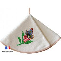 Essuie main éponge brodé Papillon