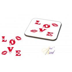 """Sous-verre carré """" love """""""