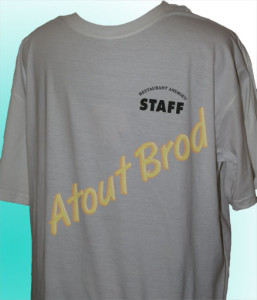 T-Shirt imprimé pour un restaurant par Atout Brod, Toulouse , Mondonville