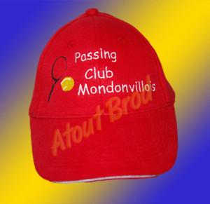 Marquage pour le Passing Club Mondonvillois, broderie casquettes par ATOUT BROD Toulouse, Mondonville