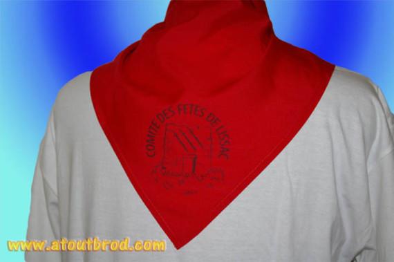 Marquage sur des bandanas pour comité des fêtes de LISSAC par ATOUT BROD ( vêtement, marquage textile, Toulouse, Mondonville