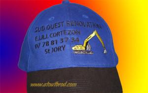 Logo brodé sur une casquette, réalisés par Atout Brod,Toulouse, Mondonville